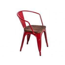 Jídelní židle Tolix 45 s područkami, červená/tmavé dřevo 72813 CULTY