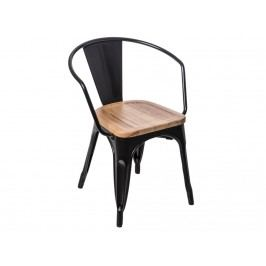 Jídelní židle Tolix 45 s područkami, černá/světlé dřevo 72759 CULTY Dřevěné jídelní židle