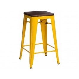 Barová židle Tolix 75, žlutá/tmavé dřevo 72906 CULTY