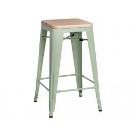 Barová židle Tolix 75, zelená/světlé dřevo 72855 CULTY