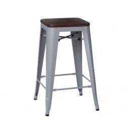 Barová židle Tolix 75, šedá/tmavé dřevo 72888 CULTY