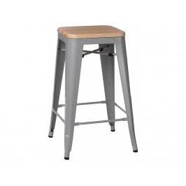 Barová židle Tolix 75, šedá/světlé dřevo 72861 CULTY