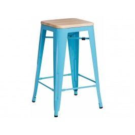 Barová židle Tolix 75, modrá/světlé dřevo 72858 CULTY