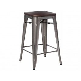 Barová židle Tolix 75, metalická/tmavé dřevo 72891 CULTY