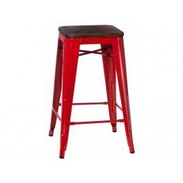 Barová židle Tolix 75, červená/tmavé dřevo 72900 CULTY
