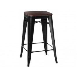 Barová židle Tolix 75, černá/tmavé dřevo 72894 CULTY