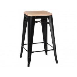 Barová židle Tolix 75, černá/světlé dřevo 72867 CULTY