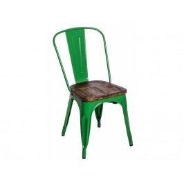 Jídelní židle Tolix 45, tmavě zelená/tmavé dřevo 72720 CULTY