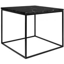 Porto Deco Černý mramorový konferenční stolek Amaro s černou podnoží 50 x 50 cm