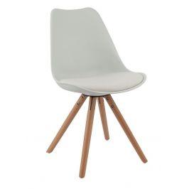 Culty Bílá plastová jídelní židle Stellan s bukovou podnoží